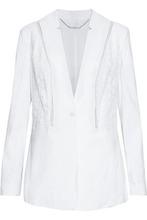 Elie Tahari | Elie Tahari Woman Bonnie Crochet-paneled Linen-blend Blazer White Size 4 | Clouty