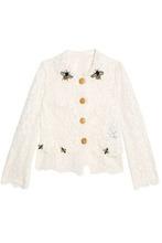 Dolce & Gabbana | Dolce & Gabbana Woman Embellished Corded Lace Jacket Ivory Size 38 | Clouty