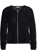 Autumn Cashmere | Autumn Cashmere Woman Fringe-trimmed Open-knit Cotton Jacket Black Size M | Clouty