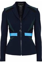 Versace | Versace Woman Color-block Mesh-paneled Stretch-knit Blazer Navy Size 38 | Clouty