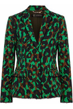 Versace | Versace Woman Frayed Printed Stretch-cotton Blazer Green Size 40 | Clouty