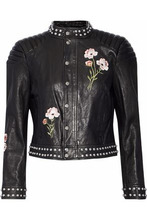 Cinq A Sept | Cinq A Sept Woman Kinu Studded Embroidered Leather Jacket Black Size L | Clouty