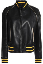 VALENTINO | Valentino Woman Metallic-trimmed Printed Leather Jacket Black Size 10 | Clouty