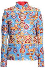VALENTINO | Valentino Woman Metallic Cotton-blend Jacquard Jacket Sky Blue Size 38 | Clouty