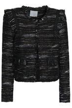 Joie | Joie Woman Perlyn Frayed Boucle-tweed Jacket Black Size M | Clouty