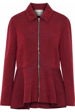 LANVIN | Lanvin Woman Marled Wool-blend Ponte Jacket Claret Size 36 | Clouty