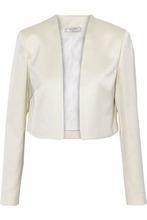 LANVIN | Lanvin Woman Cropped Satin Blazer Ecru Size 34 | Clouty