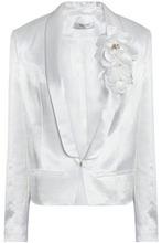 LANVIN   Lanvin Woman Embellished Floral Appliqued Satin Blazer White Size 40   Clouty