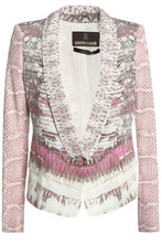 Roberto Cavalli | Roberto Cavalli Woman Printed Silk-blend Blazer Lavender Size 44 | Clouty