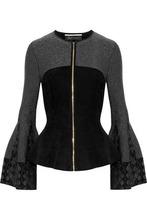 Roland Mouret | Roland Mouret Woman Metallic Jacquard Stretch Knit-paneled Fleece Jacket Black Size M | Clouty