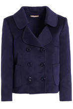 MICHAEL KORS | Michael Kors Collection Woman Double-breasted Wool, Angora And Cashgora-blend Coat Navy Size 12 | Clouty