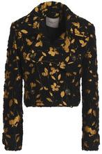 LANVIN   Lanvin Woman Metallic Floral-jacquard Tweed Jacket Black Size 36   Clouty