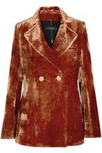 Ellery | Ellery Woman Boycott Double-breasted Crushed-velvet Blazer Copper Size 6 | Clouty