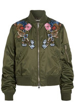 Alexander McQueen | Alexander Mcqueen Woman Appliqued Shell Bomber Jacket Army Green Size 42 | Clouty