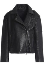 Muubaa | Muubaa Woman Textured-leather Biker Jacket Black Size 6 | Clouty