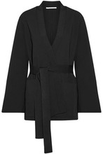 Stella McCartney | Stella Mccartney Woman Stretch-knit Wrap Jacket Black Size 42 | Clouty