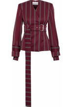 Solace London | Solace London Woman Belted Striped Wool And Cotton-blend Jacket Brick Size 10 | Clouty