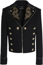 Roberto Cavalli | Roberto Cavalli Woman Embellished Wool-blend Jacket Black Size 40 | Clouty