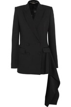 Alexander McQueen | Alexander Mcqueen Woman Double-breasted Draped Wool Blazer Black Size 40 | Clouty