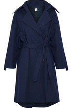 Iris & Ink | Iris & Ink Woman Morgan Cotton-canvas Trench Coat Navy Size 14 | Clouty