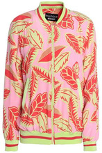 Boutique Moschino | Boutique Moschino Woman Printed Faille Bomber Jacket Pink Size 36 | Clouty