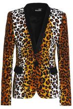 Love Moschino | Love Moschino Woman Leopard-print Stretch-cotton Blazer Animal Print Size 42 | Clouty