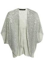 Jenny Packham | Jenny Packham Woman Sequined Tulle Jacket Grey Green Size S | Clouty