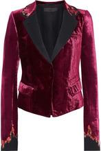 Haider Ackermann | Haider Ackermann Woman Satin-trimmed Embroidered Velvet Blazer Magenta Size 40 | Clouty