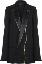 Haider Ackermann | Haider Ackermann Woman Satin-trimmed Metallic Embroidered Wool Blazer Black Size 38 | Clouty