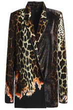 Haider Ackermann | Haider Ackermann Woman Double-breasted Printed Crepe And Velvet-paneled Blazer Animal Print Size 38 | Clouty