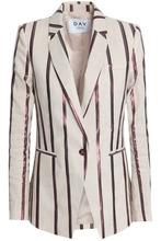Day Birger Et Mikkelsen | Day Birger Et Mikkelsen Woman Metallic Striped Canvas Blazer Ecru Size 36 | Clouty