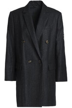 Brunello Cucinelli | Brunello Cucinelli Woman Double-breasted Bead-embellished Mohair-blend Twill Blazer Charcoal Size 42 | Clouty