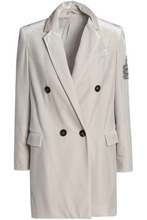 Brunello Cucinelli | Brunello Cucinelli Woman Double-breasted Appliqued Velvet Blazer Off-white Size 42 | Clouty
