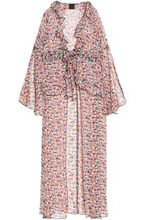 Anna Sui | Anna Sui Woman Ruffle-trimmed Floral-print Silk-georgette Top Ivory Size 2 | Clouty