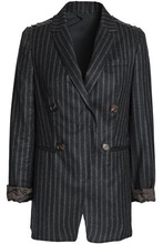 Brunello Cucinelli | Brunello Cucinelli Woman Bead-embellished Striped Wool Blazer Midnight Blue Size 42 | Clouty