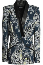 JUST CAVALLI   Just Cavalli Woman Faux Leather-trimmed Printed Jersey Blazer Storm Blue Size 40   Clouty