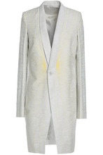 RICK OWENS | Rick Owens Woman Embroidered Linen, Cotton And Wool-blend Blazer Light Gray Size 42 | Clouty