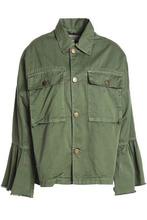 Current/Elliott | Current/elliott Woman Frayed Cotton-twill Jacket Army Green Size 2 | Clouty