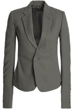 RICK OWENS | Rick Owens Woman Wool-crepe Blazer Anthracite Size 38 | Clouty