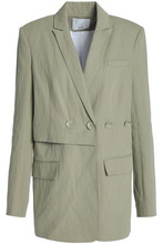 TIBI | Tibi Woman Double-breasted Cotton-blend Twill Blazer Light Green Size 10 | Clouty