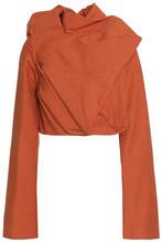 RICK OWENS | Rick Owens Woman Cropped Draped Cotton And Silk-blend Felt Top Orange Size 40 | Clouty