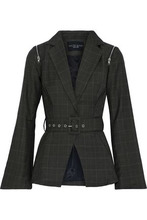 W118 By Walter Baker | W118 By Walter Baker Woman Elsa Belted Checked Woven Blazer Army Green Size XS | Clouty