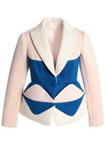 Delpozo | Delpozo Woman Color-block Neoprene Peplum Blazer Pastel Pink Size 42 | Clouty