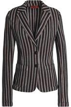 Missoni | Missoni Woman Striped Crochet-knit Wool-blend Blazer Black Size 46 | Clouty