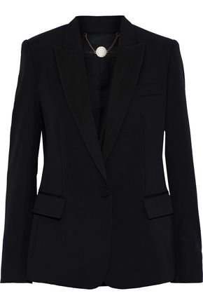 Stella McCartney | Stella Mccartney Woman Grosgrain-trimmed Wool Blazer Black | Clouty