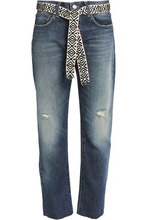 Current/Elliott | Current/elliott Woman The Crossover Faded Mid-rise Straight-leg Jeans Mid Denim Size 24 | Clouty