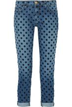 Current/Elliott | Current/elliott Woman The Fling Flocked Mid-rise Straight-leg Jeans Mid Denim Size 27 | Clouty