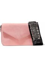 Edie Parker | Edie Parker Woman Melissa Embellished Grosgrain-trimmed Suede Shoulder Bag Pink Size - | Clouty