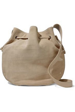 Halston Heritage | Halston Heritage Woman Leather-trimmed Suede Bucket Bag Beige Size - | Clouty