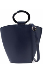 Staud | Staud Woman Seberg Leather Shoulder Bag Storm Blue Size - | Clouty